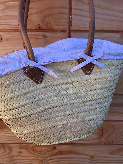 Panier de plage avec housse interchangeable en tissu à pois