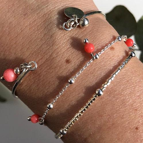 """Bracelet """"Lara"""" en argent et corail"""