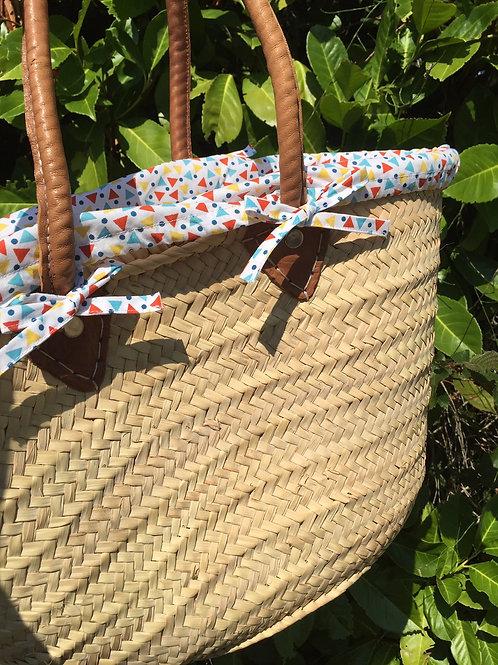 Panier de plage avec housse en tissu triangles et pois