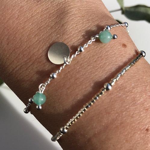 """Bracelet """"Lorie"""" en argent et pierres d'amazonite"""