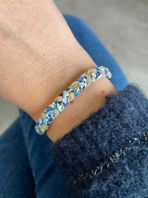 Bracelet tressé en Liberty Emma and Georgina bleu et vert