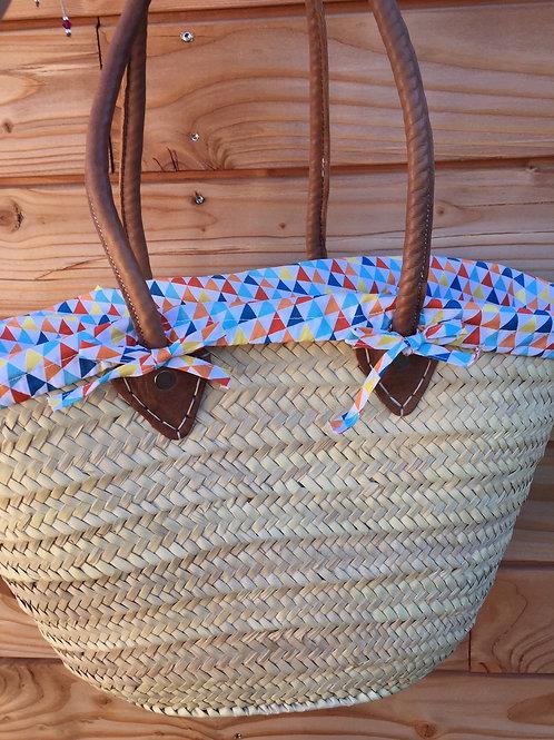 Panier de plage avec housse en tissu triangles multicouleurs