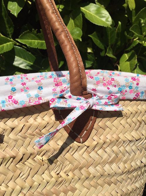 Panier de plage avec housse en tissu fleurs