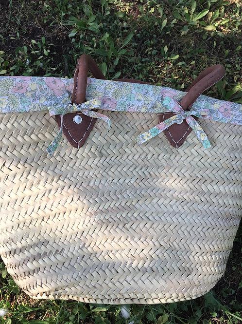 Panier de plage avec housse en Liberty Poppy and Daisy pastel
