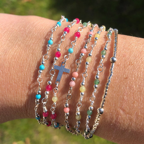 """Bracelet """"Bora Bora"""" en argent et pierres"""