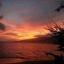 orange sunset tropical ocean beach mountain hawaii maui