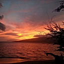 orange sunset tropical ocean beach mountain hawaii maui