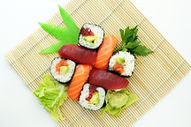 A colorful plate of sushi