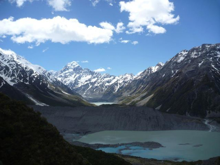 Glacier lake surrounded by snowy, icy mountains