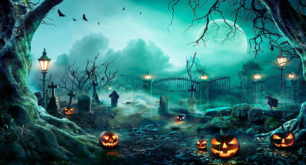 Pumpkins In Graveyard In The Spooky Night - Halloween Backdrop.jpg