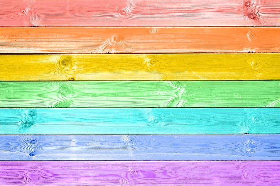 Pastel colorful rainbow painted wood pla