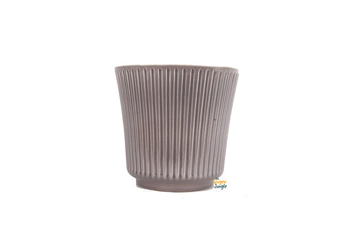 Grey glazed ribbed indoor plant pot - small