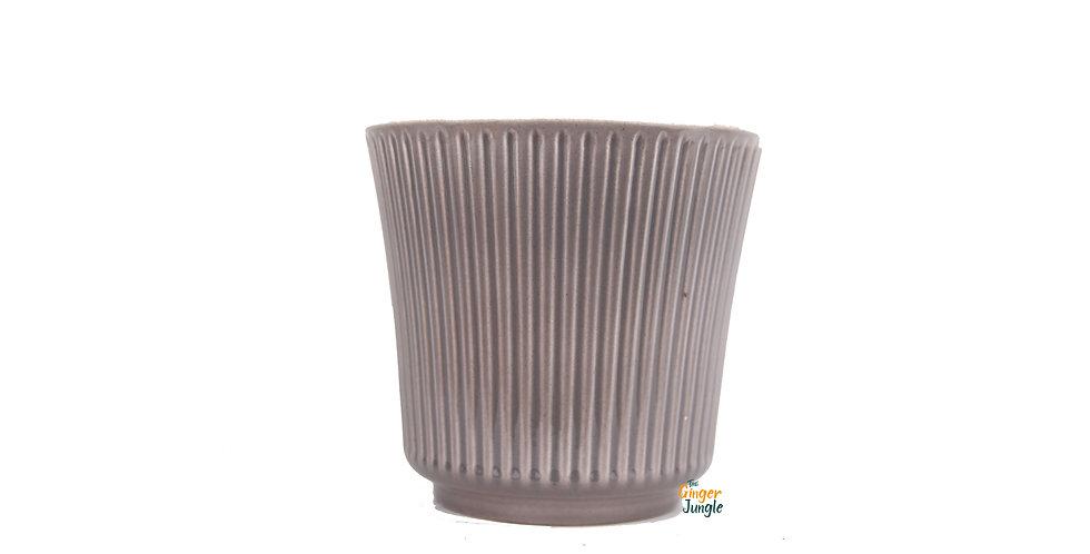 Grey glazed ribbed indoor plant pot - small