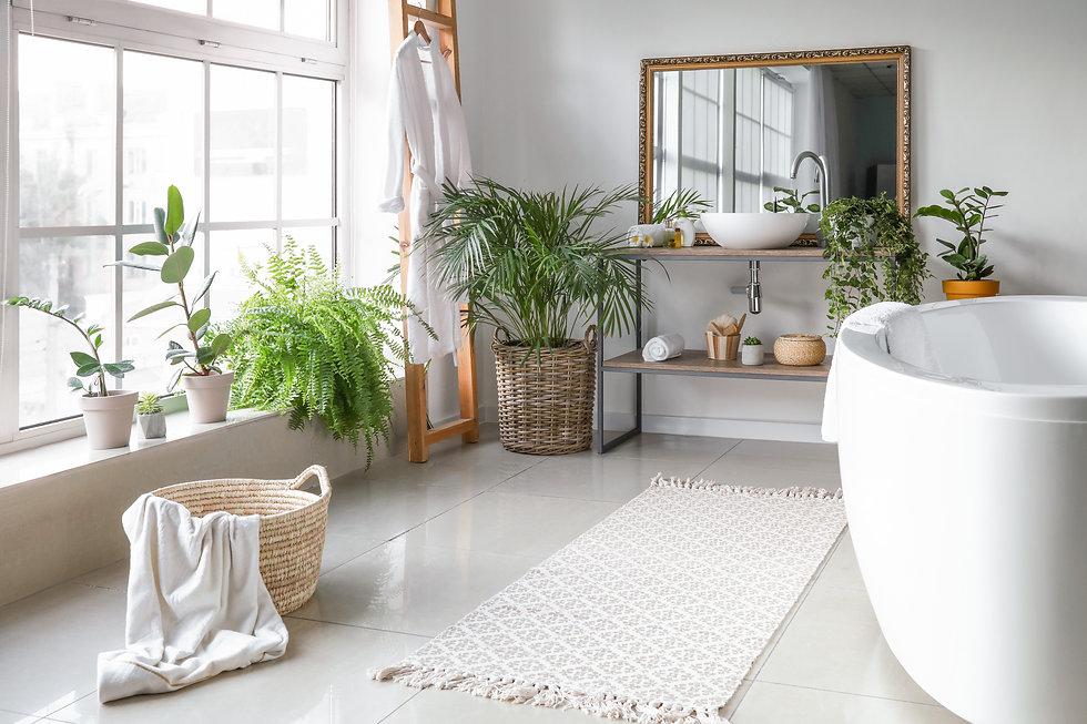 Stylish interior of bathroom with green houseplants.jpg