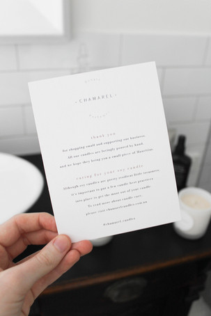 Thank You Note Design / Chamarel Candles