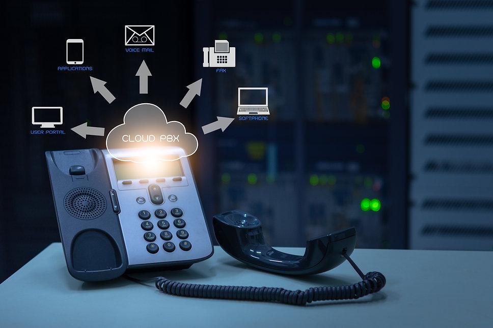 IP Telephony cloud pbx concept, telephon