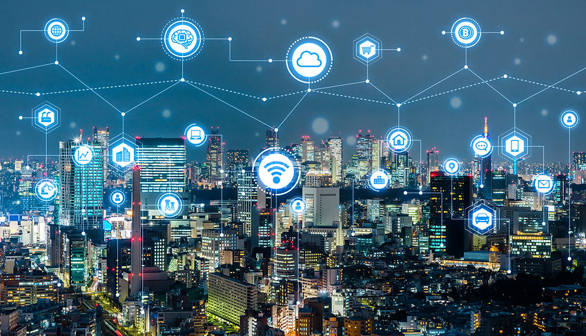 Smart city concept. IoT(Internet of Things). ICT(Information Communication Technology)..jp