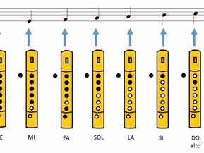 Notas flauta himno a la alegría. Notas en colores.