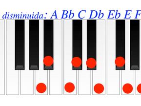 Escala : la disminuida simétrica.. Semitono tono. Acordes y escalas disminuidas. Fuentes.
