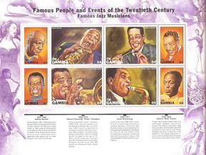 Cuatro artistas del Jazz. Filatelia musical