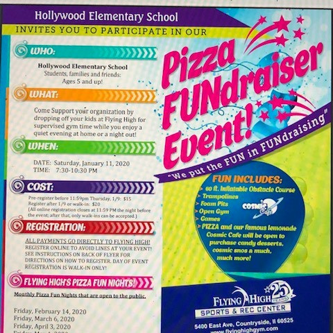 "Join us for a Pizza ""FUN""draiser at Flying High TOMORROW 1/11 7:30-10:30 pm"