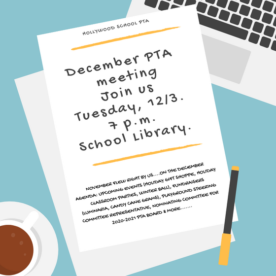 Join us for a cup of warm apple cider at our December PTA meeting