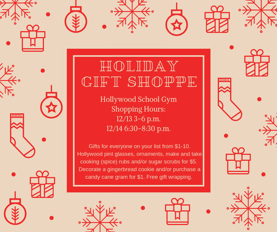 Pop on by our Holiday Gift Shoppe December 13-14 in the school gym