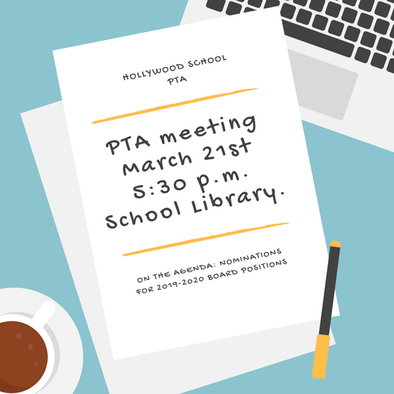 PTA meeting 3/21 before One Book. One Hollywood Celebration.