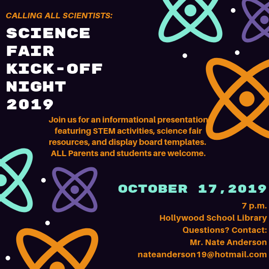 Calling ALL K-5 Scientists: Science Fair Information Night is Thursday, October 17th