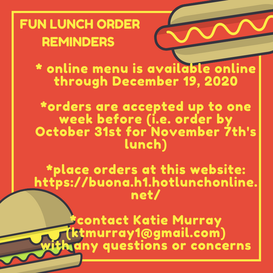 Place your November & December Fun Lunch Orders Today!