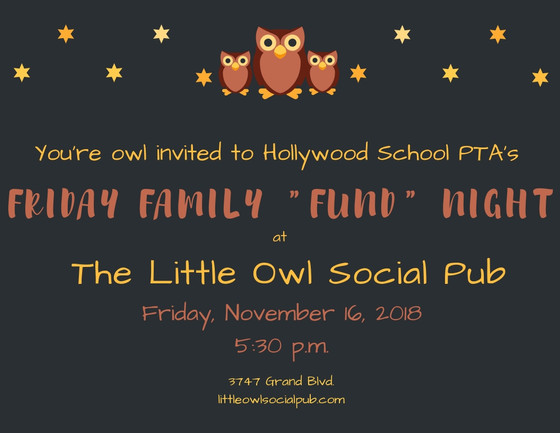 "Friday Family ""Fund"" Night Out November 16, 2018"
