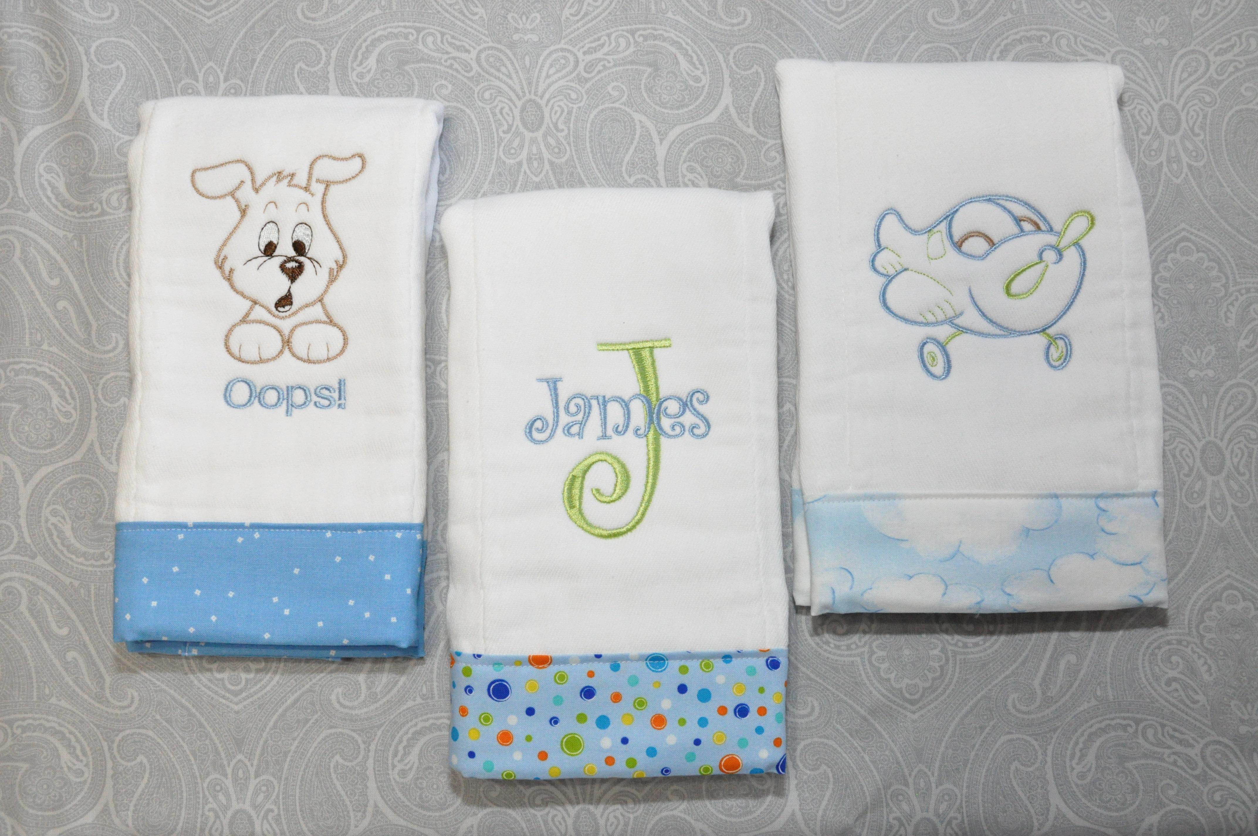 Personalized baby boy burp cloth