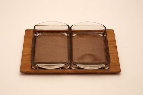 デンマーク チーク材トレーとガラスプレート