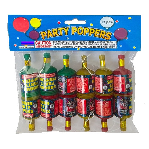 Party Poppers - 12 Count