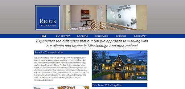 reign custom builders websit design