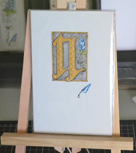 Illuminated Letter N Unframed
