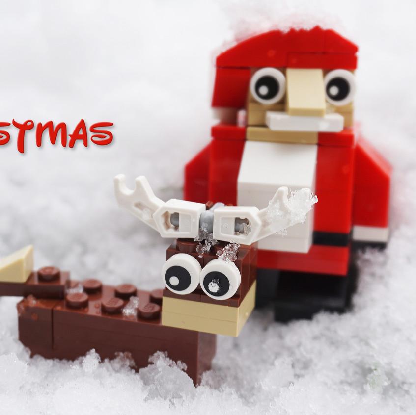 Xmas Santa and Deer in snow