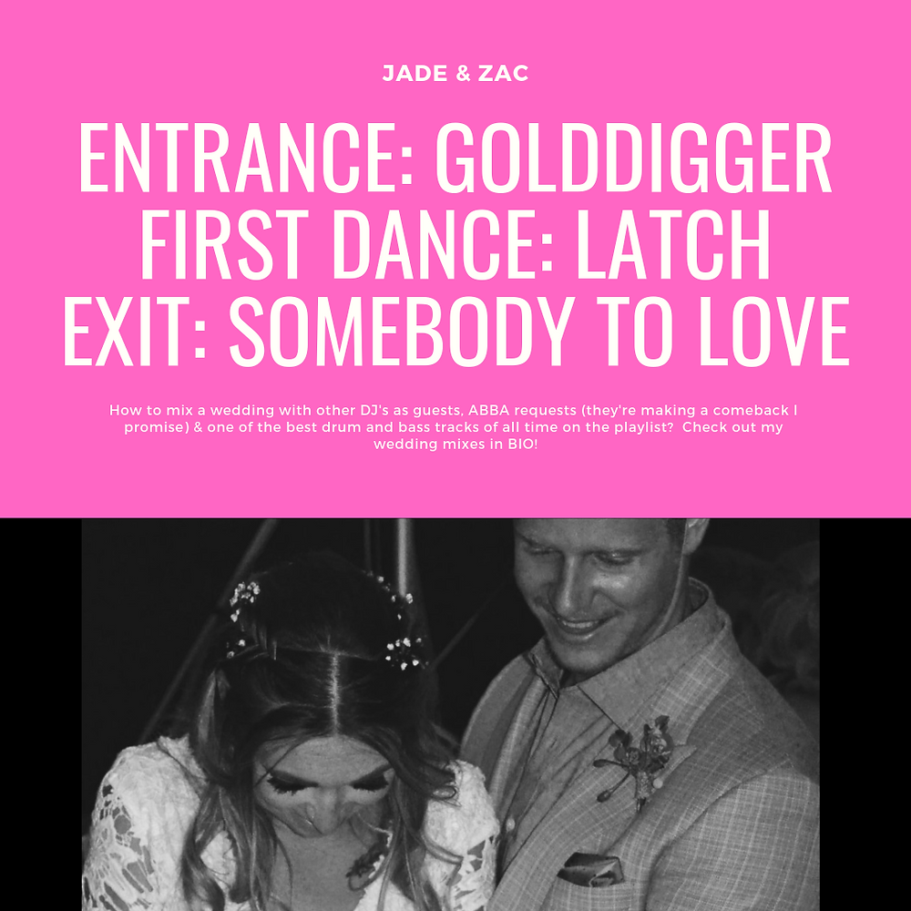 How to mix a wedding with other DJ's as guests, ABBA requests & two of the best drum and bass tracks of all time on the playlist?  Check out Jade and Zac's Love Party Mixes here!