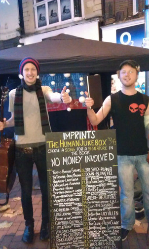 Where it all began - Andy & Vince with the busking jukebox
