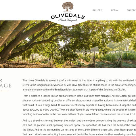 My images used in the Olivedale Wines Website