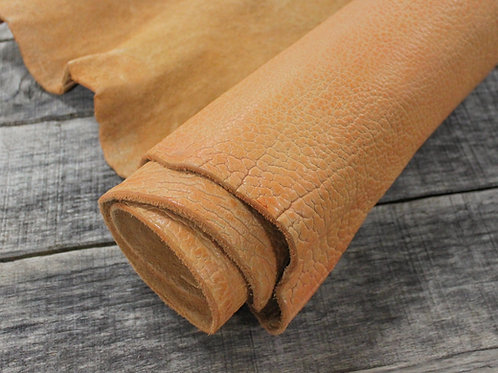 Creamsicle Shrunken Bison Leather Rolled