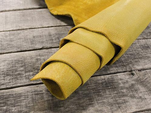 Sunflower Shrunken Bison Leather Rolled