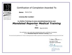 BTorok 587 Mandated Reporting Medical Certificate