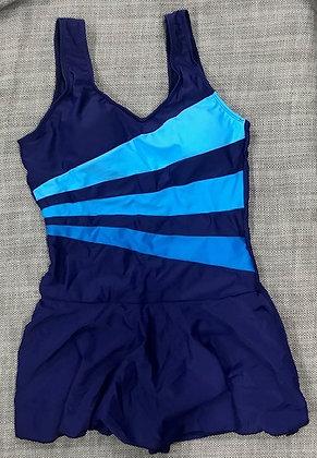 Blue One-Piece w.Shorts Bathing Suit