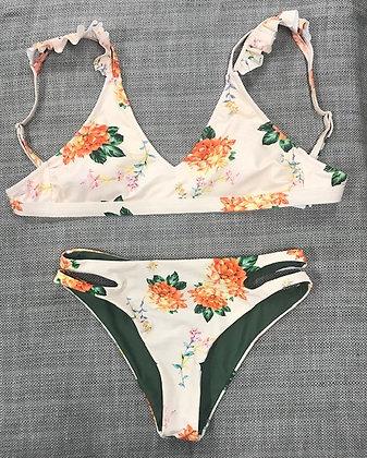 Peach Floral Ruffled 2-Piece Bikini