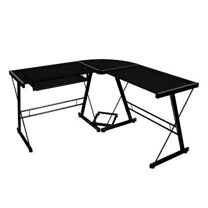 Soreno L-Shaped Glass and Metal Computer Desk