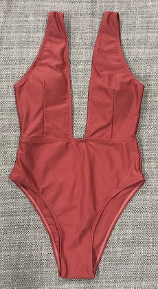Maroon Open Back One-Piece Bathing Suit