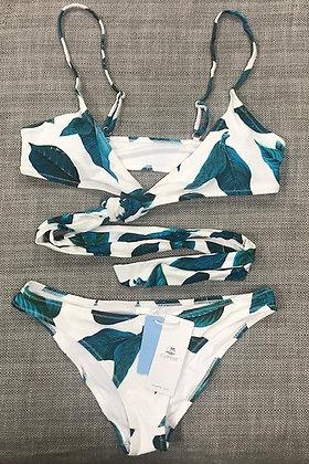 White & Blue Leaf Design Body Wrap 2-Piece Bikini