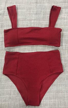 Red 2-Piece High Waist Bikini