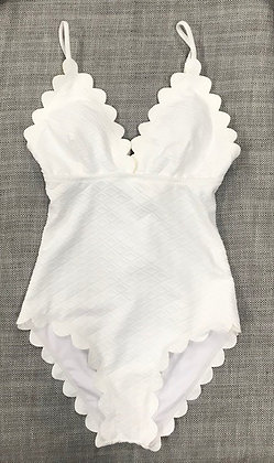 White w.Yellow Tips Ruffled Quilt One-Piece Bathing Suit